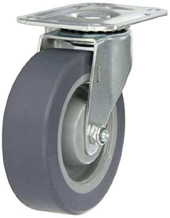 E.R. Wagner Plate Caster, Swivel, TPR Rubber on Polyolefin Wheel