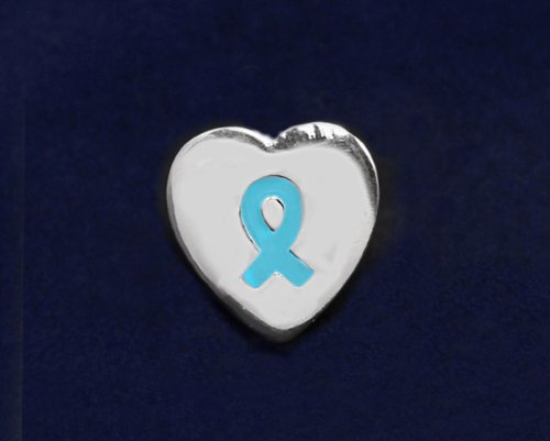 Teal Ribbon Pin-Heart Tac Pin (50 Pins)