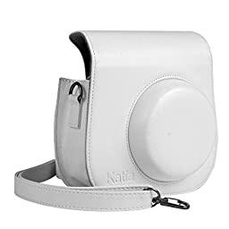 Katia Instant Camera PU Leather Case with Shoulder Strap and Pocket for Fujifilm Instax Mini 8 Instant Film Camera (White)