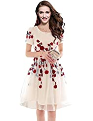 S.B CREATION Women's Semi Stitched Georgette White Kurti With Red Printed Flowers (SB_Kurti_White_FreeSize)