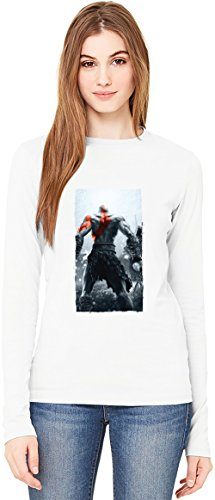 Kratos Back God Of War T-Shirt da Donna a Maniche Lunghe Long-Sleeve T-shirt For Women| 100% Premium Cotton Ultimate Comfort X-Large