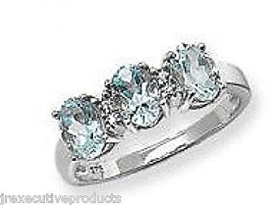 White Gold 3 Real Aquamarine Ovals & Diamond Ring (available in sizes J - S )