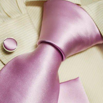 Pink solid designer mens ties plain wedding gifts mens accessories silk necktie cuff links set H5079