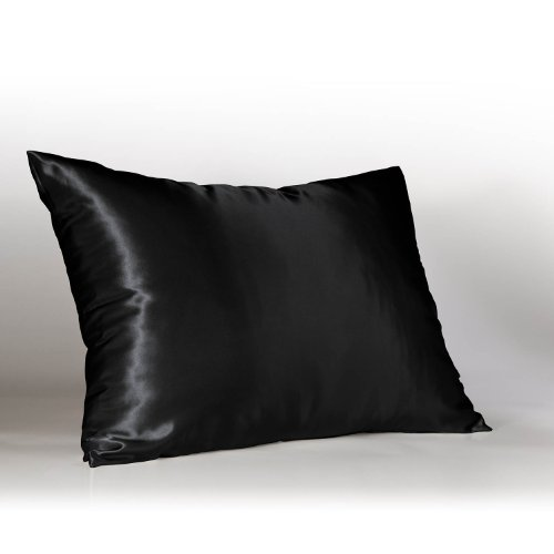 Luxury Black Satin Pillow Case w/Hidden Zipper, King
