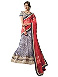 Inddus Women Grey & Red Unstitched Embroidered Lehenga Choli