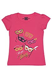 Chalk by Pantaloons Girl's Round Neck T-Shirt (205000005609206, Pink, 3-4 Years)