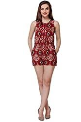 PURYS Red Aztech Printed Crepe Short Jumpsuit - X-Large