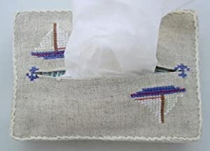 Sailboat Hand embroidered purse tissue holder cover