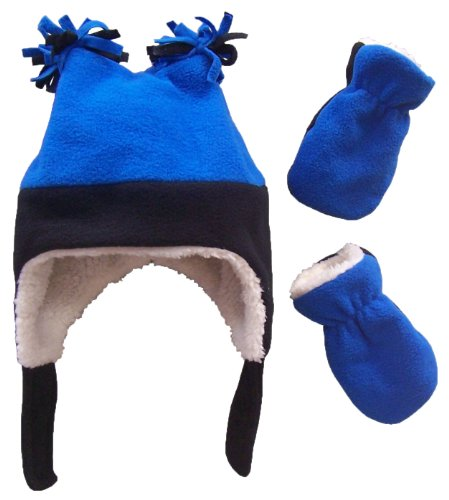 N'Ice Caps Little Boys and Baby Sherpa Lined Fleece Winter Hat and Mitten Set (6-18mo, Navy/Royal Infant)