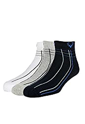 Allen Solly Mens Solid Ankle Socks (8904241905723_Multi-Colour _25 X 37) (Pack of 3)