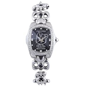Hello Kitty Silver/Black Stainless Steel Bracelet Watch