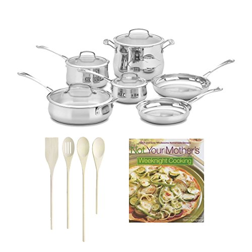 Cuisinart 44-10N Contour Stainless 10-Piece Cookware Set + 4-pc. Solid Beechwood Tool Set + Cookbook Bundle (Cuisinart Contour Stockpot compare prices)