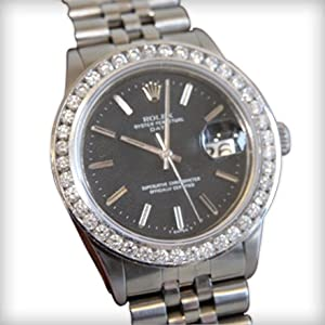 Original Rolex Oyster Perpetual Date Staineles Steel Vintage Genuine Man Watch 1.80 Carat Diamonds