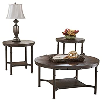 Ashley Furniture Signature Design - Sandling Occasional Table Set - End Tables and Coffee Table - 3 Piece - Round - Rustic Brown