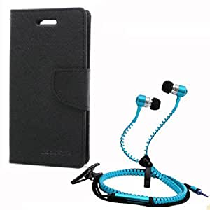 Aart Fancy Wallet Dairy Jeans Flip Case Cover for Apple6G (Black) + Zipper Earphones/Hands free With Mic *Stylish Design* for all Mobiles- computers & laptops By Aart Store.