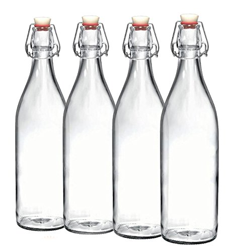 Bormioli Rocco Set of 4 Giara Clear Glass Bottle With Stopper, 3.5 X 12-Inch 33 3/4 oz, Swing Top Bottle for Beverages Oil Vinegar