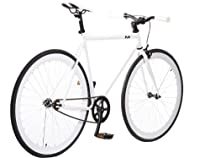 TMS® White/wht Fixie Road Bike Steel Alloy Track Bicycle Fixed Gear Single Speed 58cm