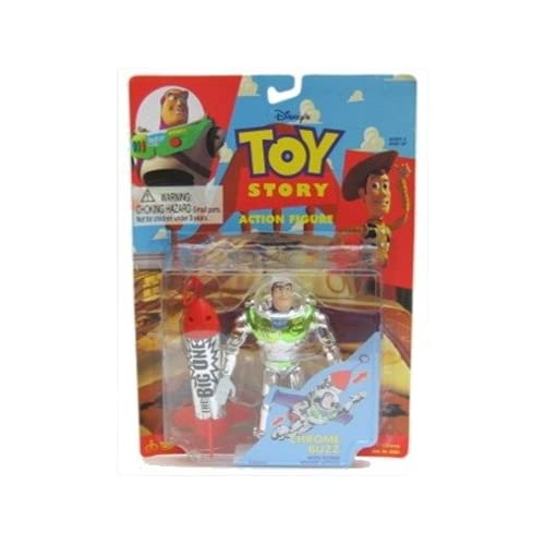 Story Chrome Buzz Lightyear Action Figure with Flying Rocket Action