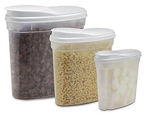 Amazon Com 3 Piece Plastic Cereal Snack Dispenser Set Dry Food Storage