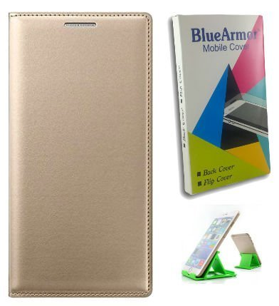 BlueArmor-Leather-Flip-Cover-Case-for-Moto-Z-Play-Gold-(Attaches-without-Mod)-&-Mobile-Stand