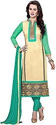VM Trendz Women's Chanderi Cotton Semi-Stitched Salwar Suit (VMT-JL35, Beige & Surf Blue)