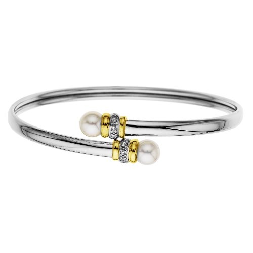 S&G Sterling Silver and 14k Gold Freshwater Cultured Pearl and Diamond Bangle Bracelet