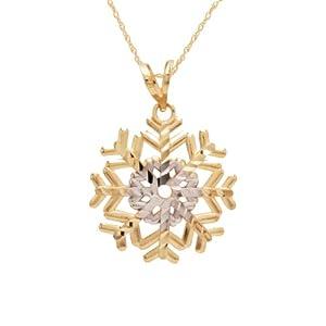 "10k Gold Two-Tone Polished Diamond Cut Snowflake Pendant, 18"""