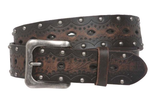 "1 1/2"" Snap on Perforated Studded Vintage Embossed Solid Leather Jean Belt Size: 38"" Color: Brown"