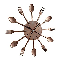 Time to Dine Fork and Spoon Copper Finish Round Wall Clock 15 Inch