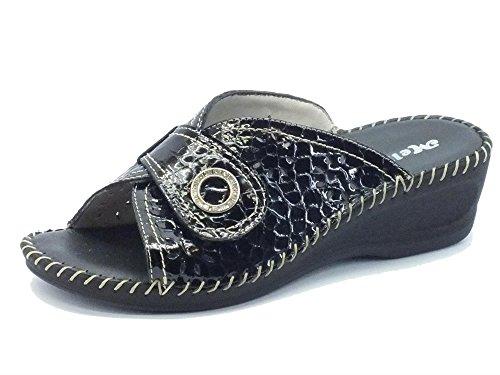 Pantofole Melluso per donna in vernice nera con velcro (Taglia 36)
