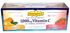 Emergen-c Super Energy Booster - Flavored Fizzy Drink Mix, Contains 1000 Mg Vitamin C, 32 Mineral Complexes, B Vitamins, Value Pack - 40 Tangerine and 40 Raspberry -80 Packets