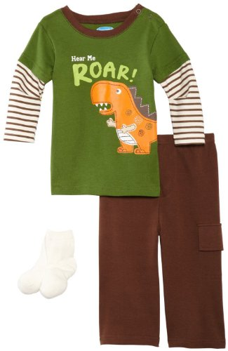 Bon Bebe Baby-Boys Infant Hear Me Roar 3 Piece Pant Set, Green/Brown/Cream, 12 Months front-1075459