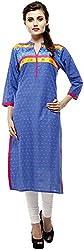 Calista Women's Cotton Regular Fit Kurta(CalKur04_42, Blue, 42)