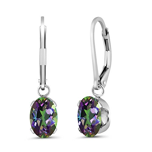 3.20 Ct Oval Green Mystic Topaz Gemstone Birthstone 925 Sterling Silver Earrings (Mystic Fire Topaz Gem compare prices)