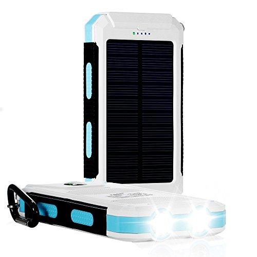 Batteria Portatile,10000mAh 2-Uscite Power Bank, Caricabatterie Portatile Solare universale Battery Charger Pack Batteria Esterna per iPhone 6/5/4, iPad, iPod, Samsung Devices, Smart Phone, Tablet PCs
