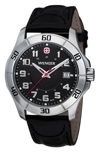 Swiss Watches:Wenger Men's 70485 Alpine Black Dial Black Leather Watch Images