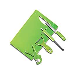 Anjali 5 Pcs Utility Set (1pc Royal Gas Lighter,1pc Knife,1pc Chopping Board,1pc Gilleto Peeler,1pc Express Cutter), Green