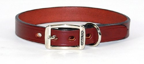 Creased Leather Dog Collar - Burgundy, 3/4