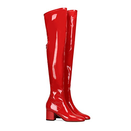 Maovi (Red Leather Thigh High Boots)