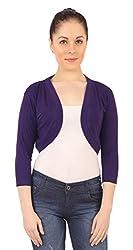 Threadz Women's Shrug (T-W-1058-Purple-XXL, Purple, XXL)