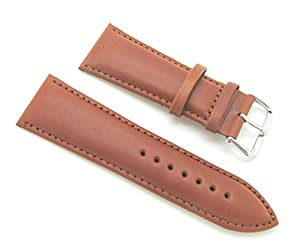 28mm Quality Thick Leather Padded Dark Tan Watch Band with Spring Bars