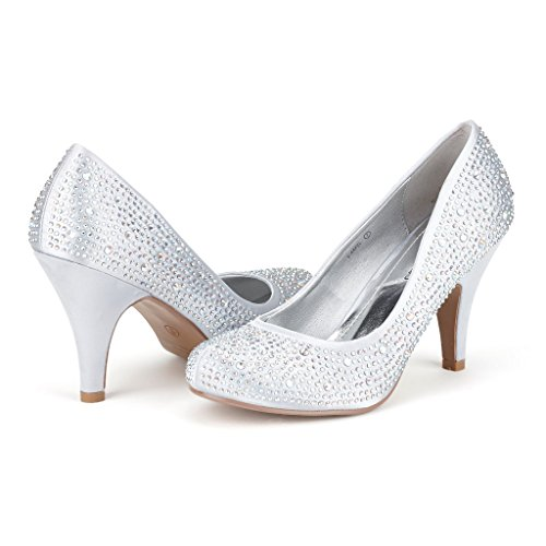 DREAM PAIRS S-ARPEL Women's Formal Evening Dance Rhinestones Classic Low Heel Pumps Shoes New,6 B(M) US,S-ARPEL-SILVER