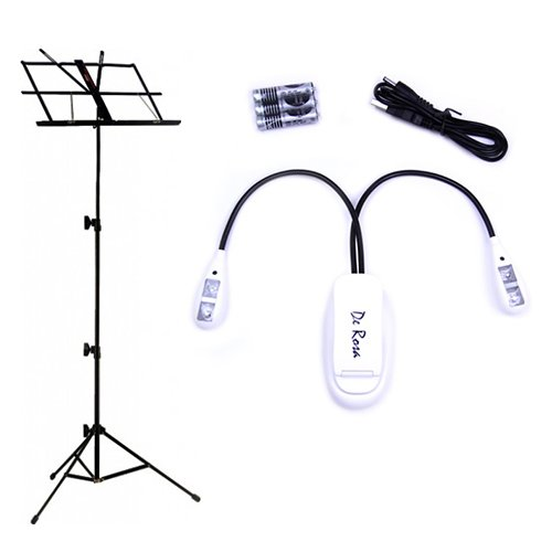 Black Music Stand Deluxe With White Led Music Stand Light