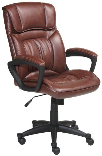 Serta 43504 Faux Leather Executive Chair, Cognac Brown front-686770