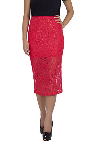 Rinascimento Women's Pencil Skirt with Lace Fabric K1972