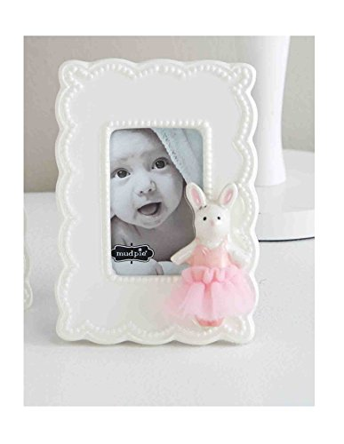 Mud Pie Baby Girl Ceramic Ballerina Princess Bunny Frame