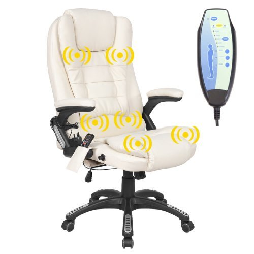 RIO CREAM RECLINING MASSAGE LEATHER OFFICE CHAIR w 6 POINT MASSAGE HIGH BACK COMPUTER DESK 360 SWIVEL