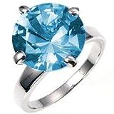 Big Stone Ring - Aquamarine Blue CZ, 10