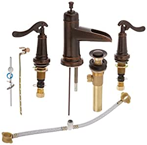 Pfister Ashfield 2 Handle 8 Widespread Bathroom Faucet Rustic Bronze Touch On Bathroom Sink