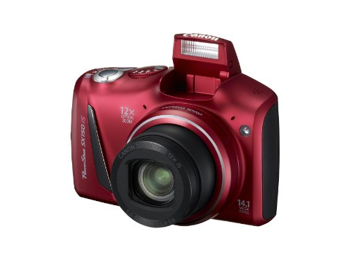 Canon PowerShot SX150 IS 14.1 MP Digital Camera with 12x Wide-Angle Optical Image Stabilized Zoom with 3.0-Inch LCD (Red)